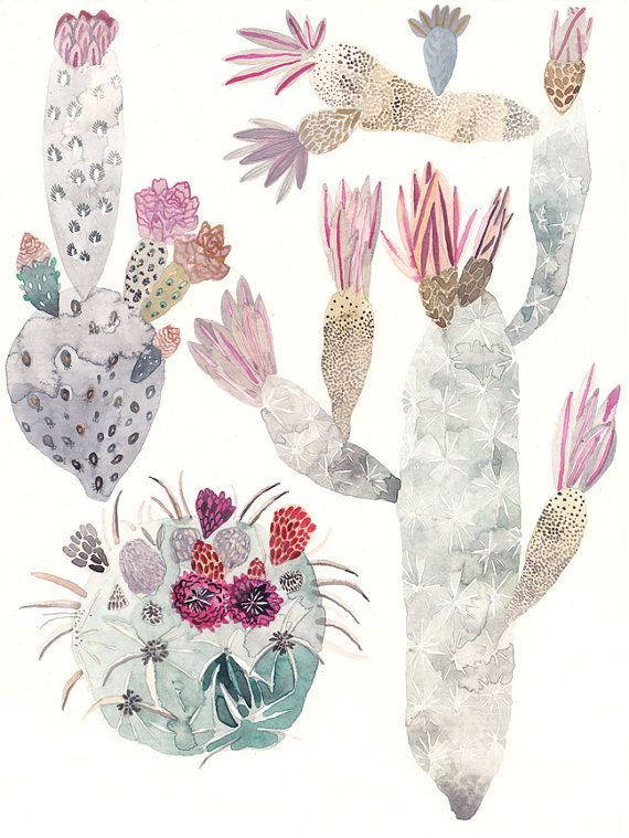 Art work/illustration- by United Thread- Cactus Trio  - Original painting- Wow! I love all of the texture and muted tones...