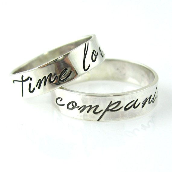 Doctor Who Wedding Bands Time Lord Companion Solid Sterling Silver Rings On