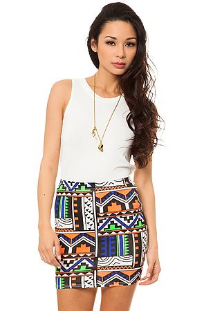 The Neon Tribal Print Skirt by Reverse