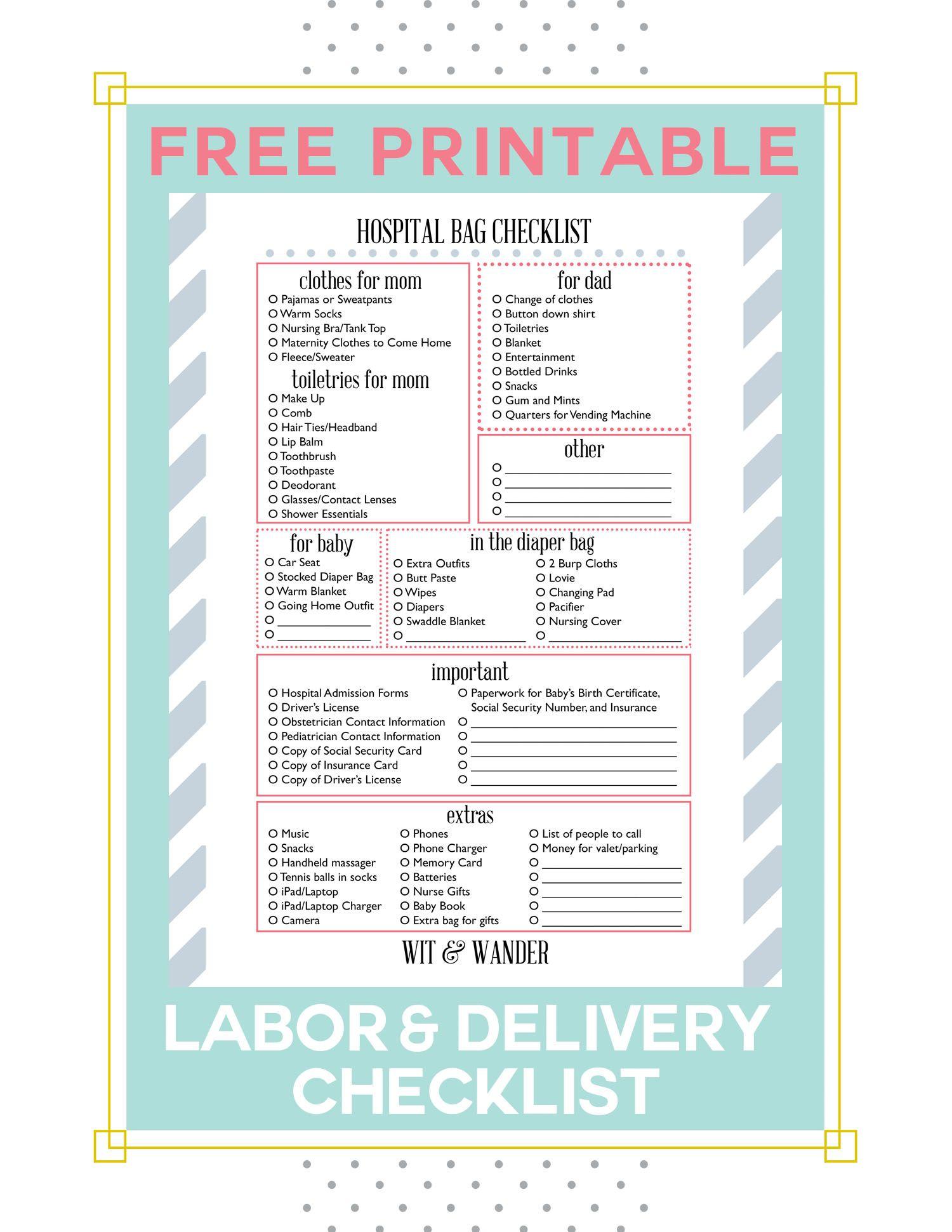 Printable Maternity Hospital Bag Checklist Wit Wander