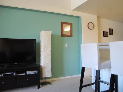 """This is the color we're going to paint our crib and accent wall - it's """"restful"""" from Sherwin Williams.  (pic is to show you the paint color only)"""