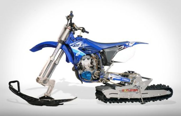 Worlds Collide With This Dirt Bike Snow Track Conversion Kit I Want One Bike Motorcycle Snowbike