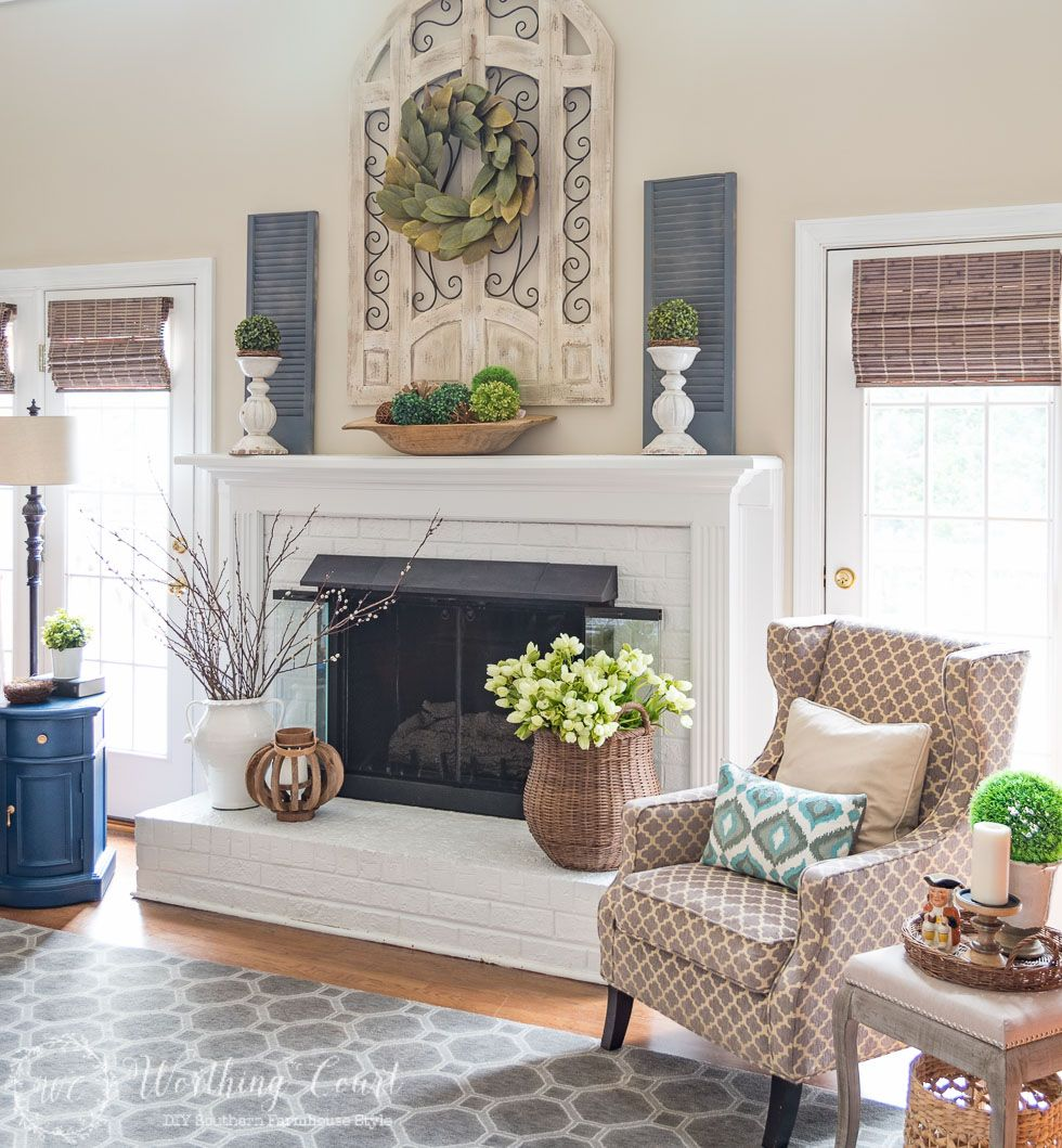 My Spring Fireplace Mantel And Hearth Worthing Court Farmhouse Decor Living Room Hearth Decor Farm House Living Room