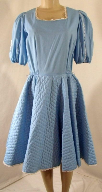 Vtg SQUARE DANCE CO Baby Blue Lace Trim Quilted Swing Dress Rockabilly $39.99