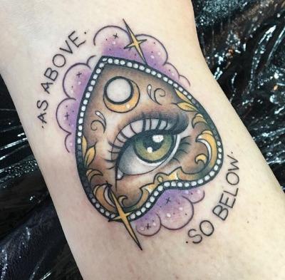 Simple Ouija Board Planchette Tattoo Google Search Tattoos Sleeve Tattoos Spooky Tattoos