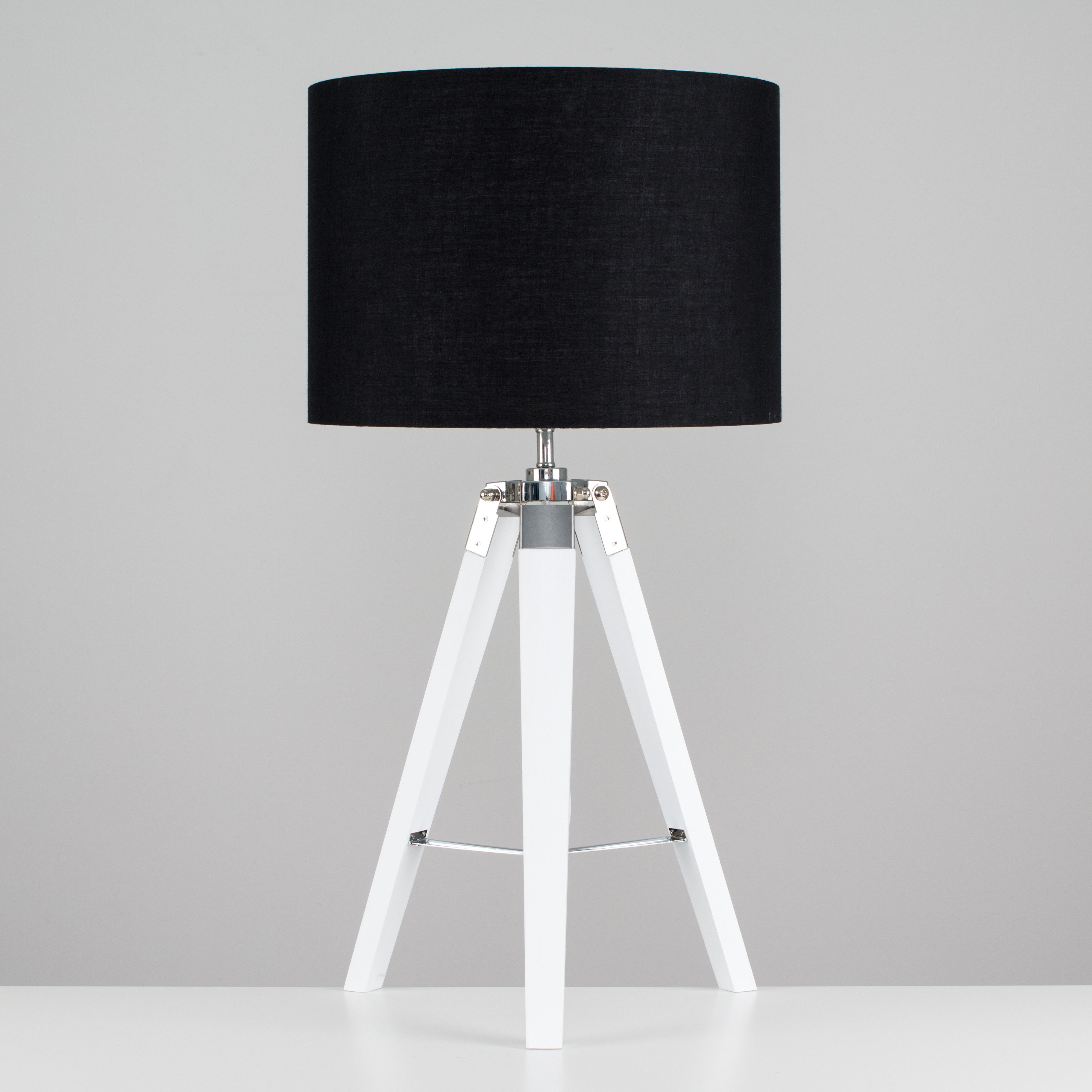 Clipper White Wood And Chrome Table Lamp With Black Shade With
