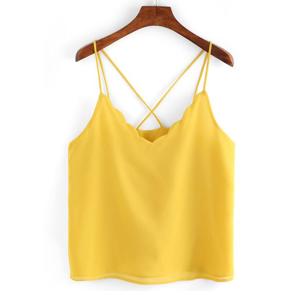 Scollaped Neckline Crisscross Cami Top (550 MKD) ❤ liked on Polyvore featuring tops, yellow, cami tops, yellow top, v neck cami, camisole tank tops and cami tank tops