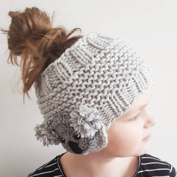 Hand knitted ear warmer with cute Koala appliques- fun winter and ...