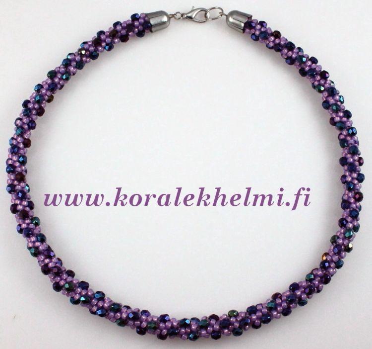 Necklace made of Toho seed beads and Czech Fire polished beads. Kumihimo is fun..
