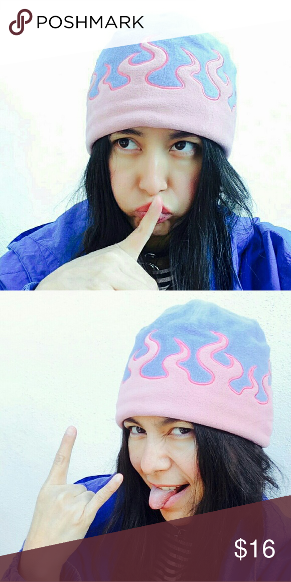 Dope pastel flames baby pink   blue beanie How dope is this pastel flames  beanie  9148520bf1a