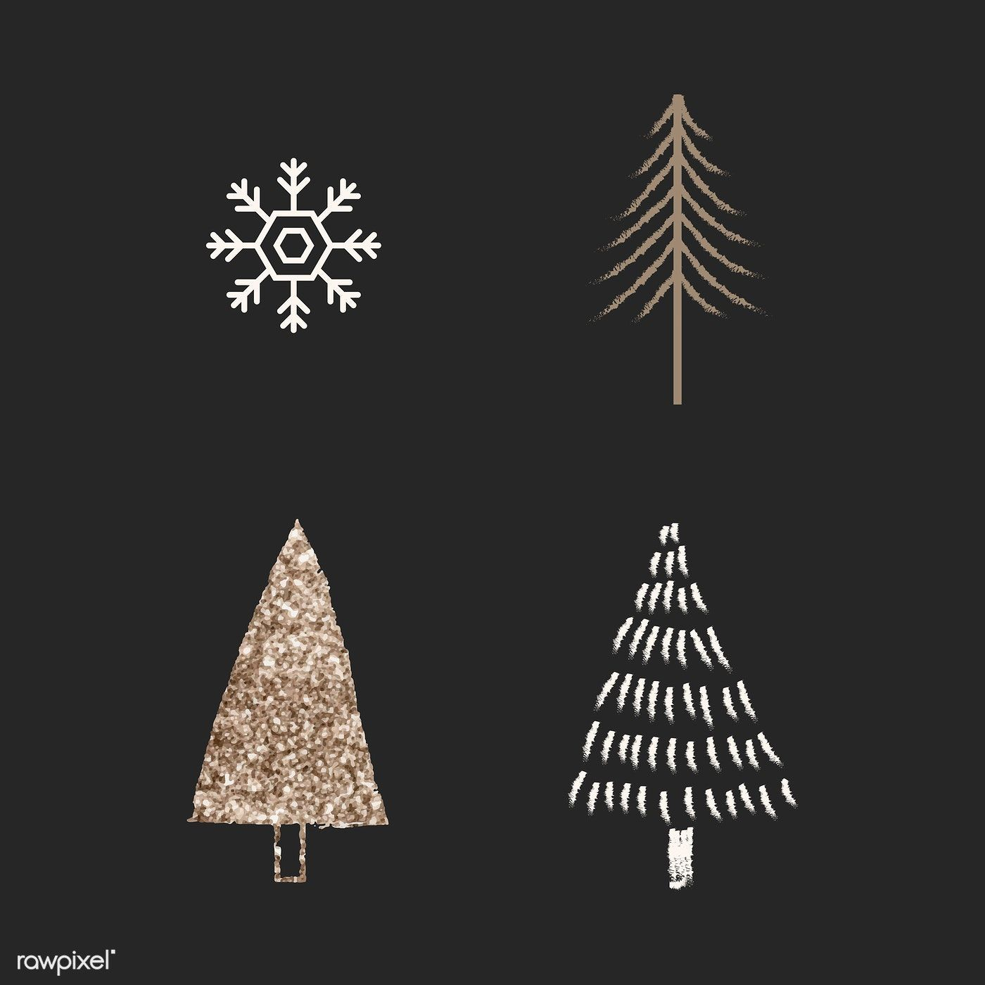 Download Premium Vector Of Christmas Tree Elements Black Background Vector Christmas Tree Art Christmas Tree Images Glitter Wall Art