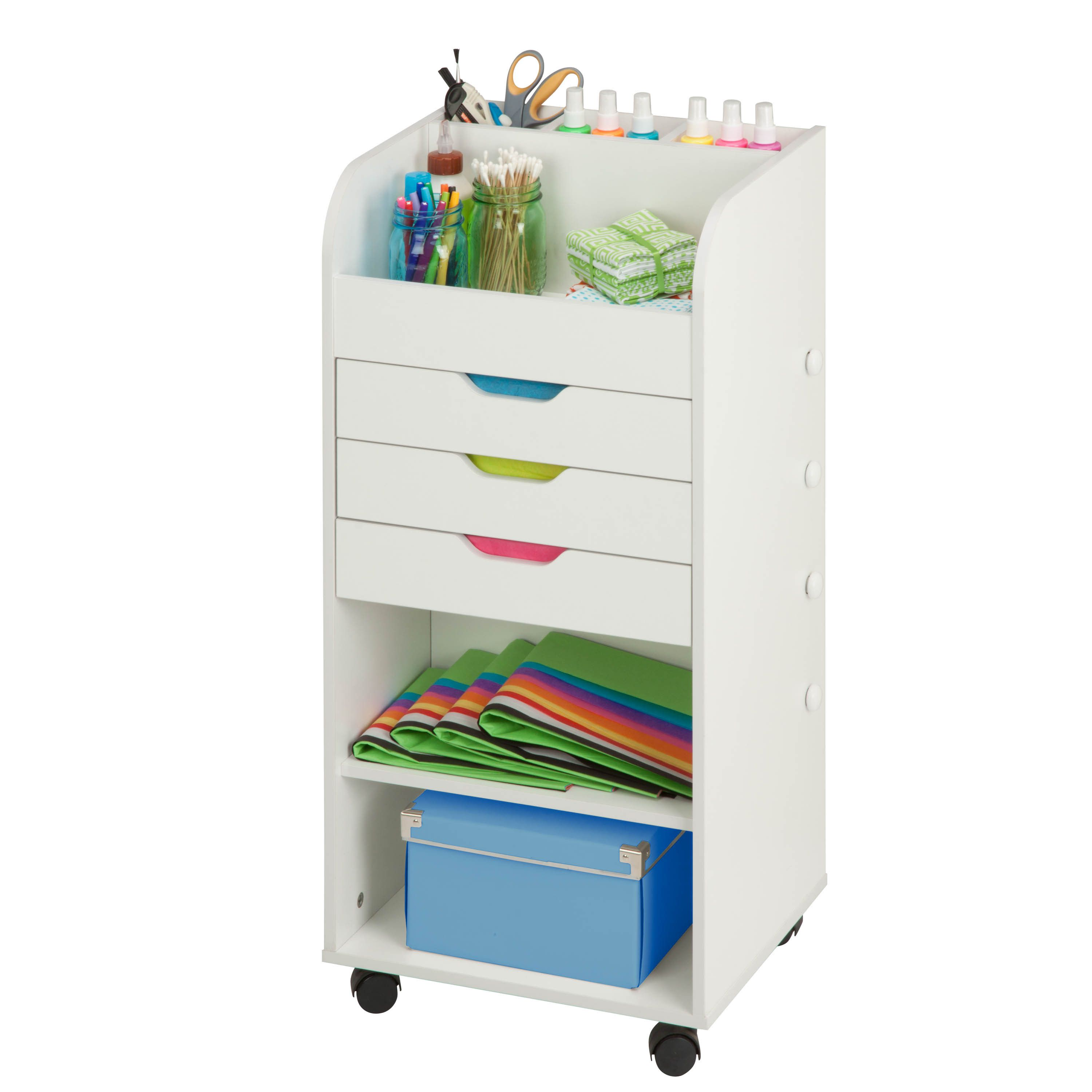 Honey Can Do Rolling Craft Storage Cart, White. Keep Your Crafting  Materials Organized With This Convenient, Rolling Storage Cart. Featuring  Three Built In ...