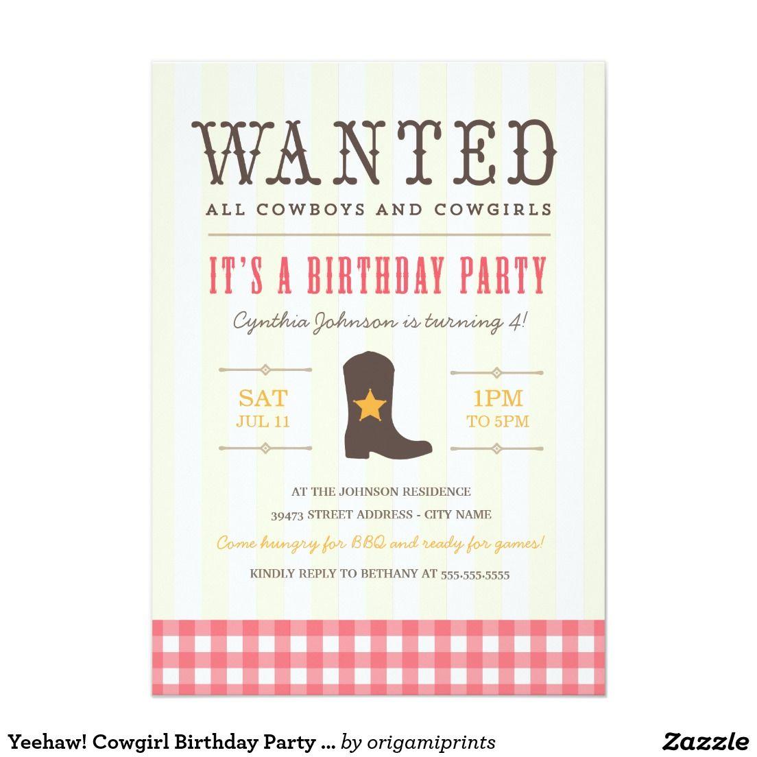 Yeehaw! Cowgirl Birthday Party Invitation | Cowgirl birthday ...