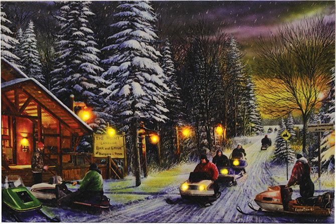 Snowmobile Town Lighted Led Canvas Art Lighted Canvas Art Poker Run Snowmobile