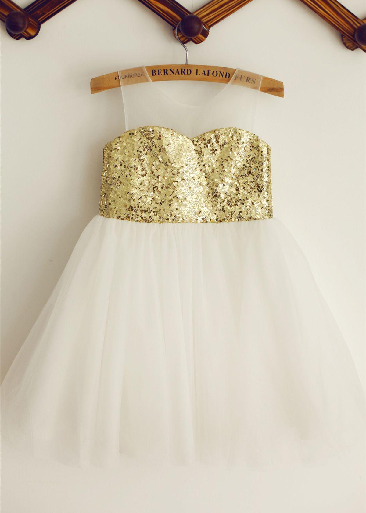 Gold sequin tulle knee length flower girl dress tulle flower girl