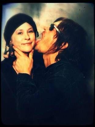 Norman (Daryl) Reedus & Melissa (Carol) McBride...apparently he likes to lick people? lol