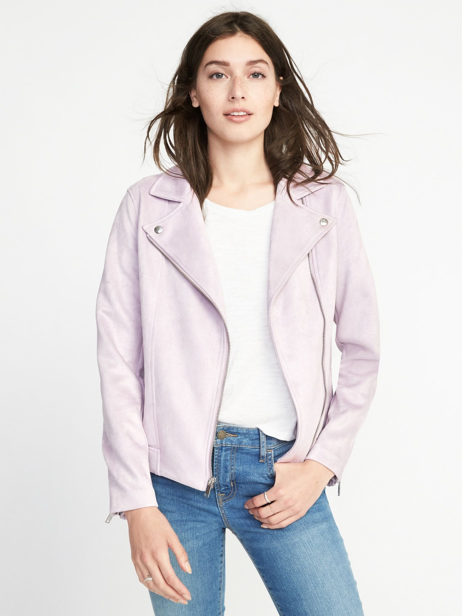 Old Navy Lilac Moto Jacket Women outerwear jacket