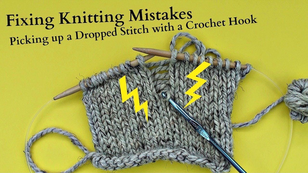 Picking up a Dropped Stitch with a Crochet Hook Half