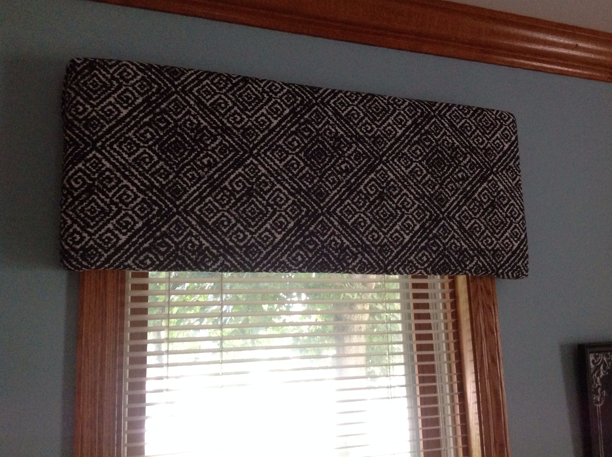 3 valances made with foam board and one Target curtain panel