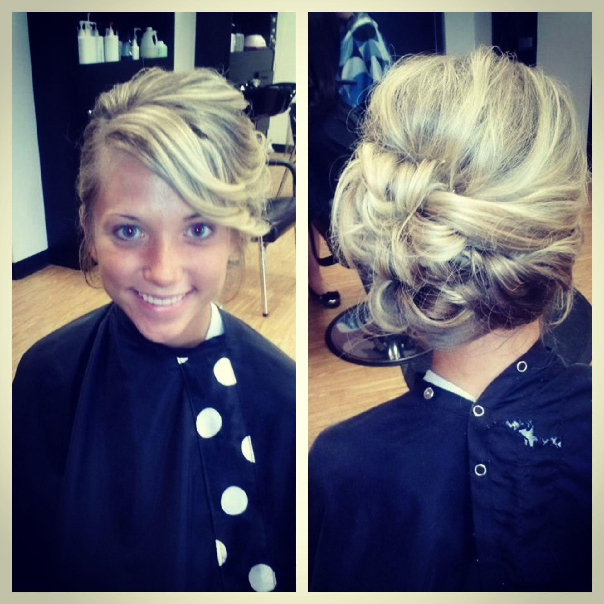 Long blonde formal prom updo. Beauty style. Salon Brianne