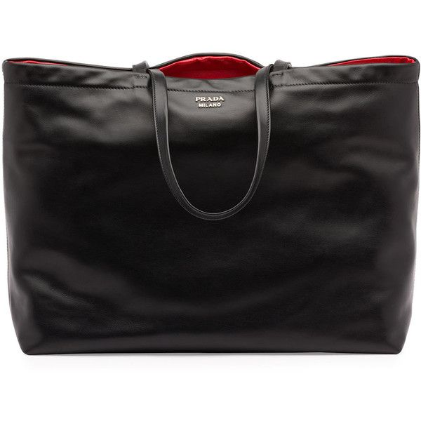 Prada Soft Calf Reversible East-West Tote Bag ( 1,790) ❤ liked on Polyvore  featuring bags, handbags, tote bags, black purse, reversible tote, prada,  ... c808447417