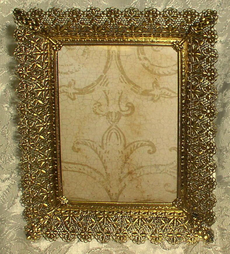 VINTAGE METAL PICTURE FRAME Fancy Filligree Lace Chic Shabby