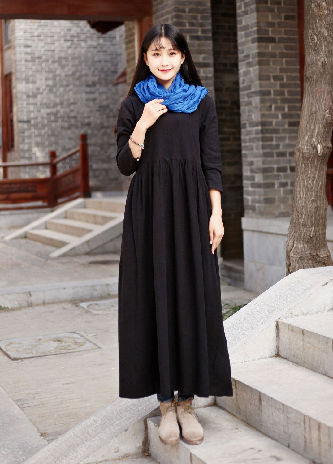 a07a1e09a4d52 Linen dress Cotton Maxi dress Casual loose long dress Custom-made Plus size  dress Autumn Large size dress plus size clothing Winter Dresses by Luckywu  on ...