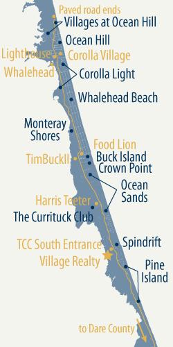 Corolla Map For Web Png 250 500 Pixels Corolla Beach Dare County Corolla