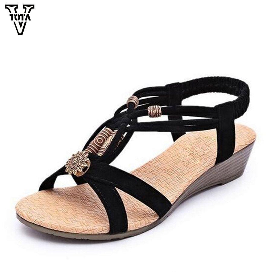 faef9090efb 2019 的 VTOTA Gladiator Sandals Women String Bead Low Heels Shoes ...