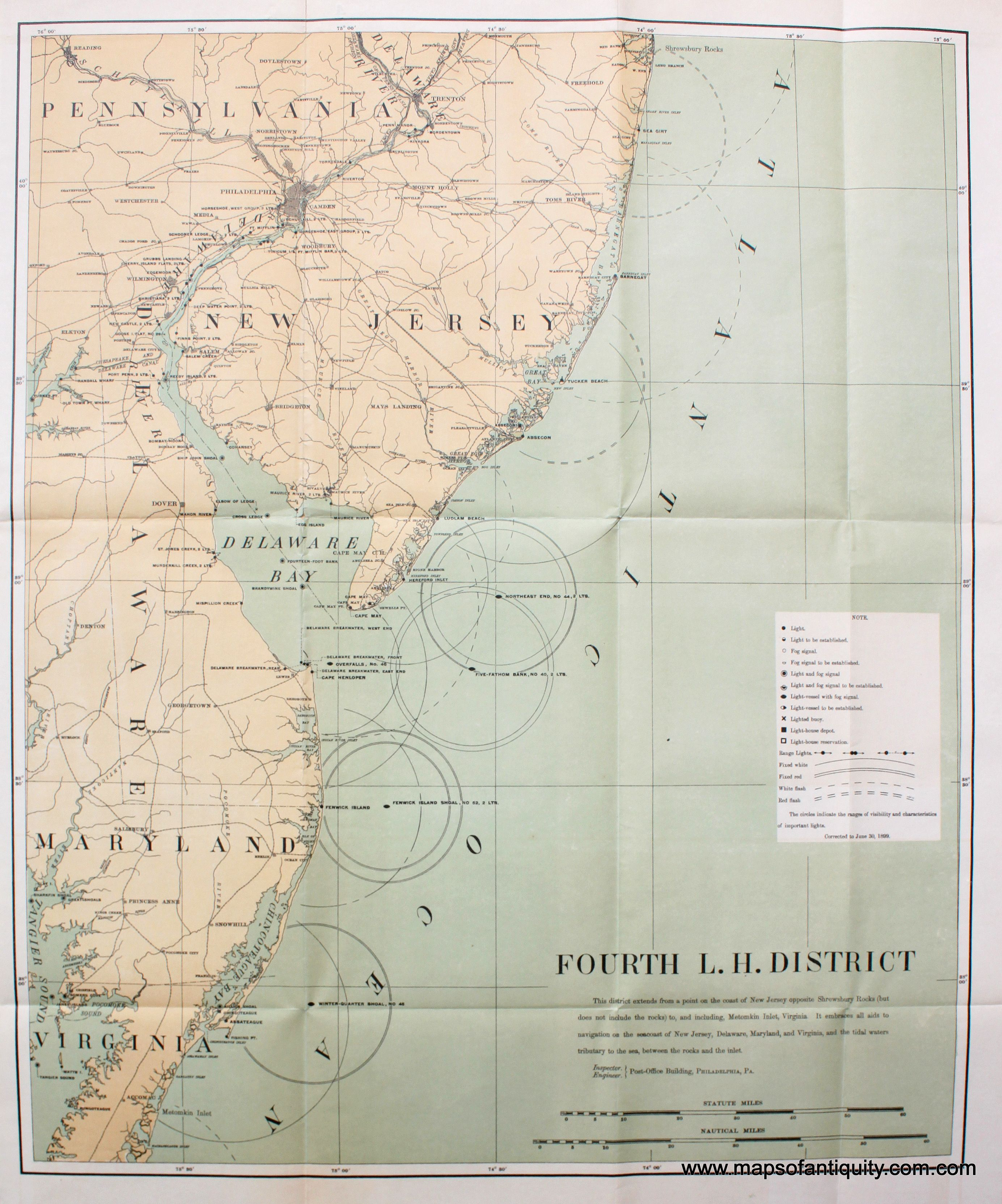Pennsylvania Virginia Map.Lighthouses Of New Jersey Delaware Maryland Pennsylvania And