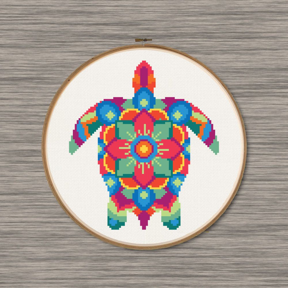 Instant download pdf cross stitch pattern of a colorful sea turtle pattern includes colored grid page 1 of pdf symbol grid page 2 of pdf dmc color chart geenschuldenfo Images