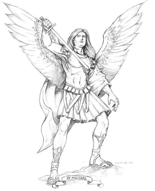 St Michael The Archangel Bw By Astaldour Traditional Art Drawings