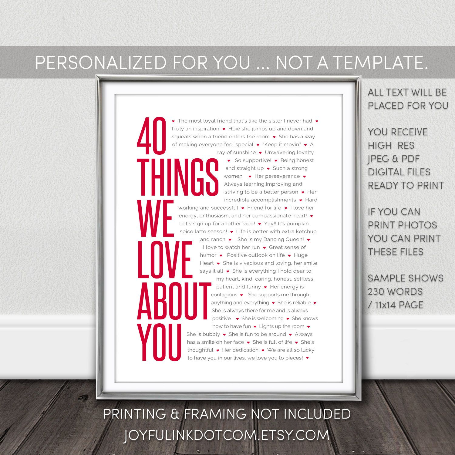 40 Things We Love About You Printable Personalized 40th Etsy In 2021 40th Birthday Gifts 40th Birthday Gifts For Women 40th Birthday