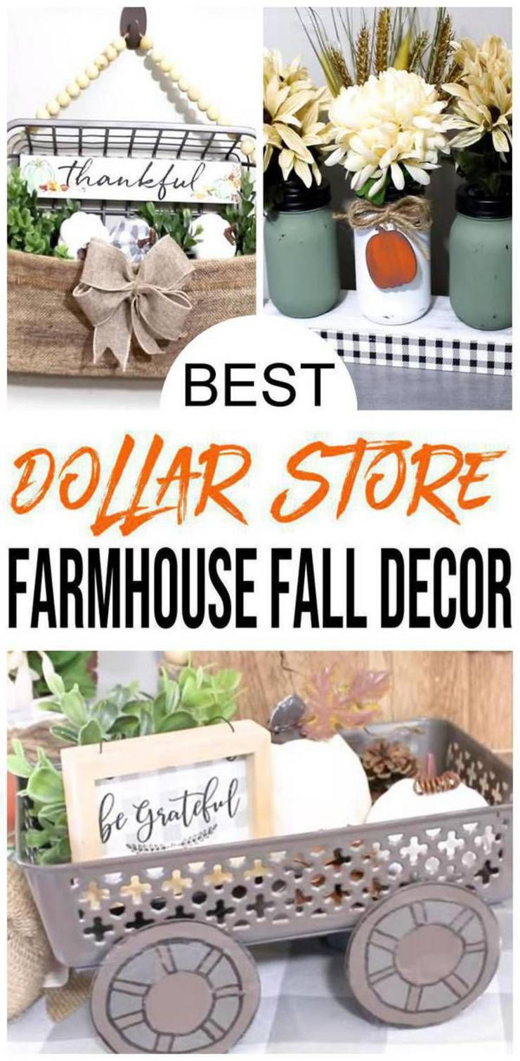Farmhouse Fall Decor – DIY Dollar Store Farmhouse Decoration Ideas & Hacks – Fall Home Decor On A Budget -   18 thanksgiving decorations for home dollar stores ideas