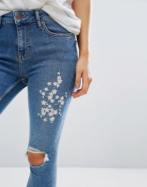 1ec4a5e2b7 Embroidered Skinny Jean | wear. | Embroidered jeans, Fashion, Diy ...