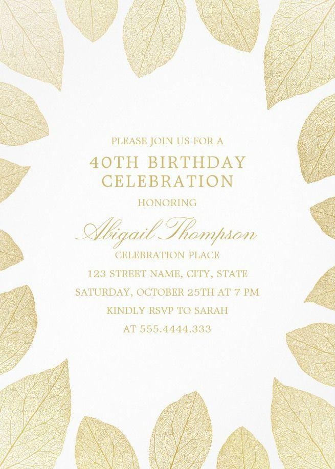 Unique Gold Leaves 40th Birthday Invitations - Elegant Frame ...