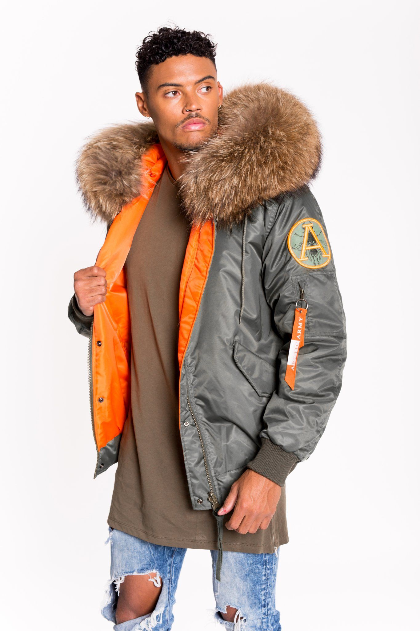 c261437bc Arctic flight bomber - green / natural - men's in 2019 | Fur on dark ...