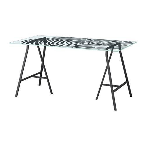 Ikea lerberg weiß  99 // GLASHOLM / LERBERG Table - glass/fingerprint pattern gray ...