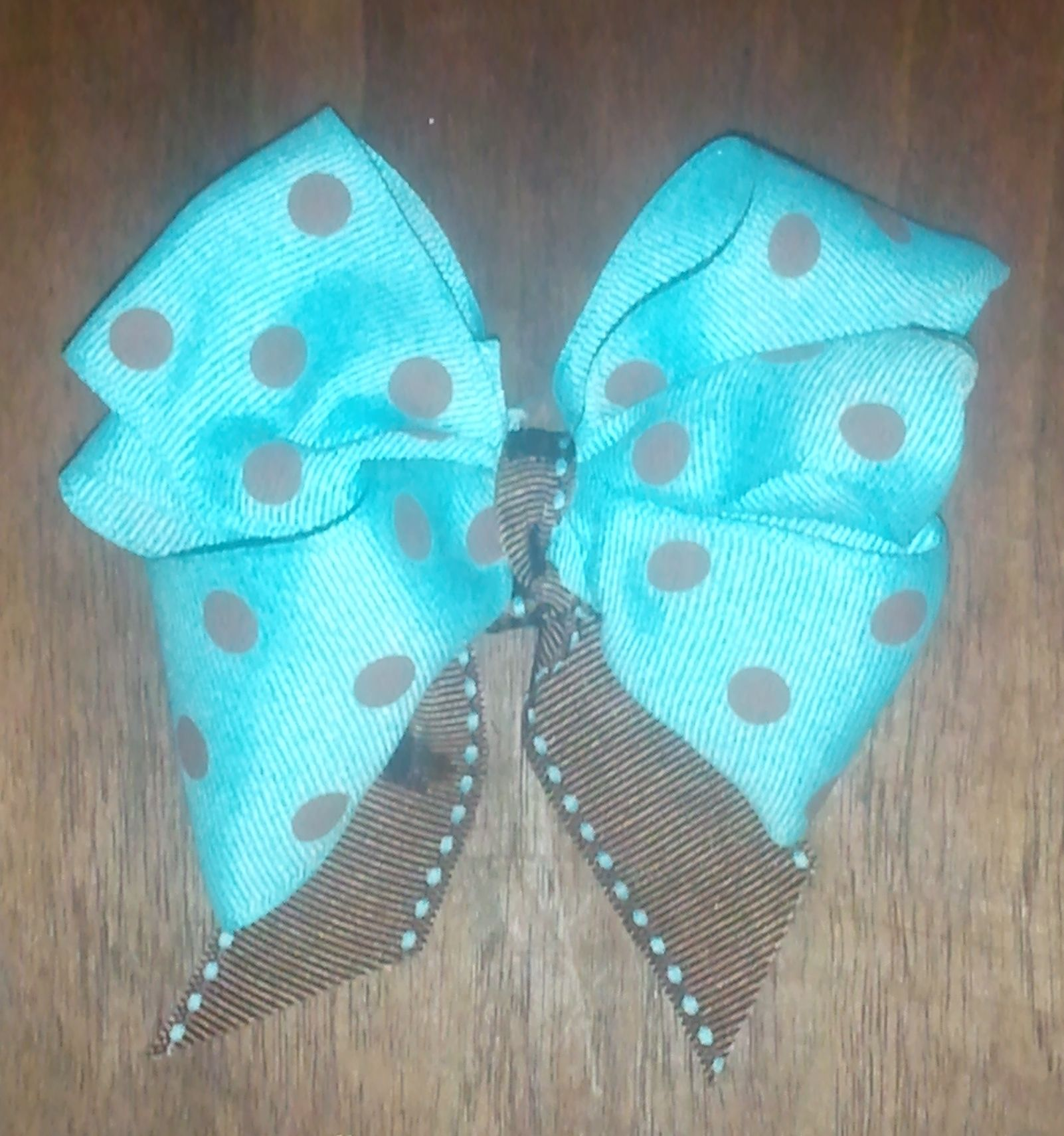 Blue and Brown polka dotted Bow