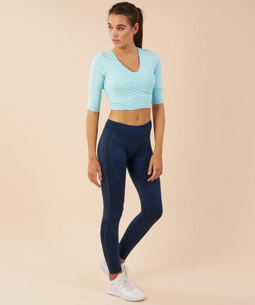 3a7a8d656a0fc Gymshark Ballet Crop Top - Pale Turquoise Marl 1