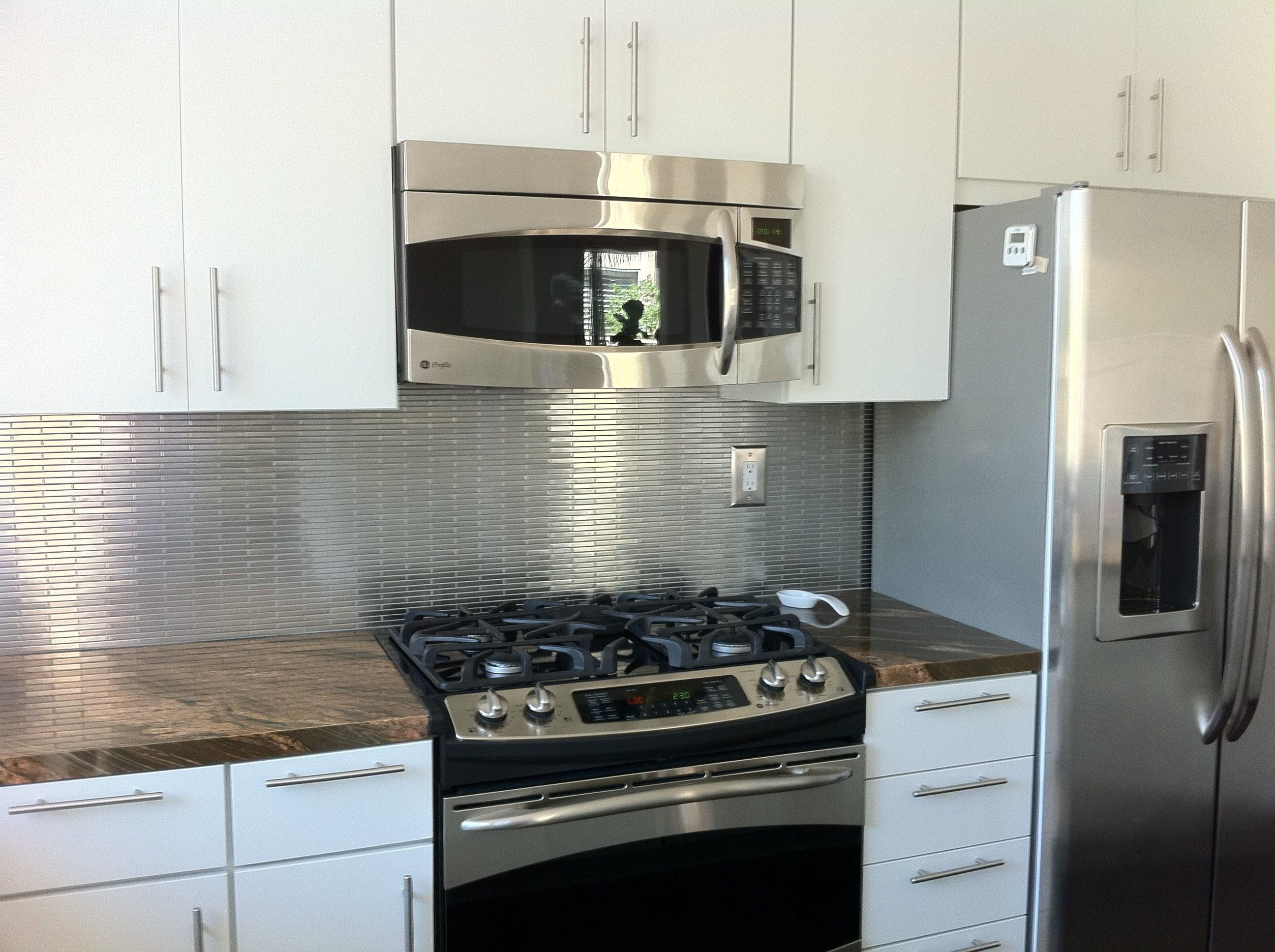Metallic Kitchen Wall Tiles Outdoor Appliances Packages Metal Silver Stainless Steel 3 8x4 Stick Brick Tile Rv