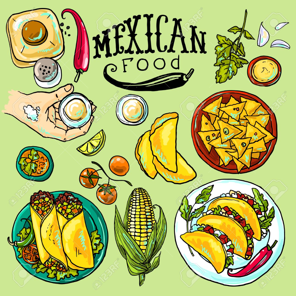 Mexican Food Illustration Mexican Food Recipes Food Illustration Art Food Illustration Design