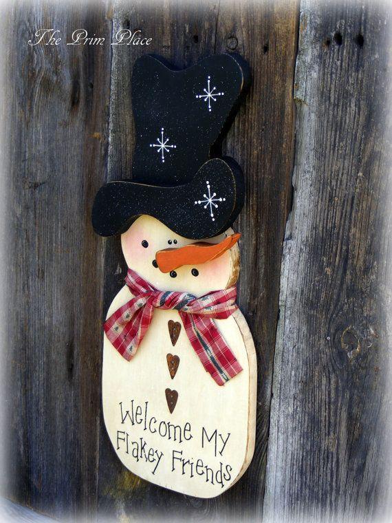 Photo of Snowman Wall Hanging ~ Snowman Door Hanger ~  Winter Door Hanger ~ Winter Door Decor ~ Primitive Snowman ~ Rustic Snowman ~ Snowman Decor