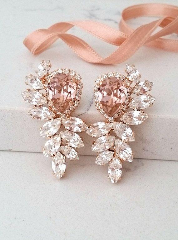 Bridal Earringsrose Gold Blush Earringsmorganite Etsy Morganite Earrings Bridal Earrings Blush Earrings