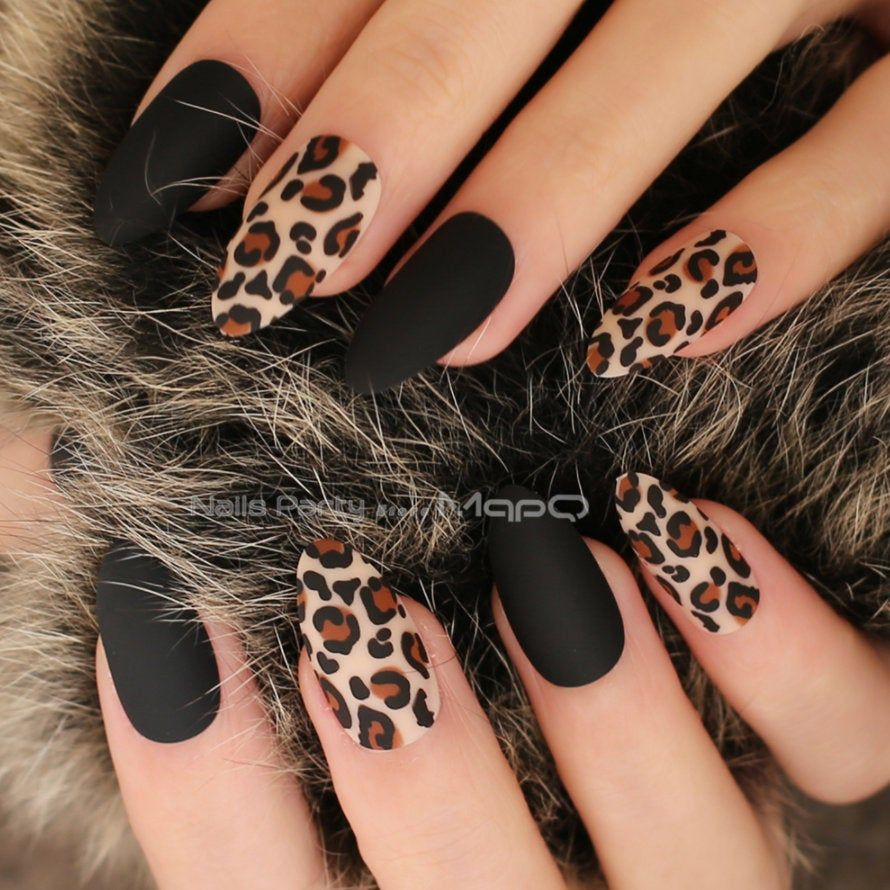 24pcs Tiger Matte Black Leopard Print Fake Nails Coffin Nails Full Set Nails Press On Nails Faux Nails Matt Nails In 2020 Leopard Print Nails Leopard Nails Fake Nails