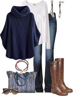 Comfy Casual Poncho Fall Outfit 2