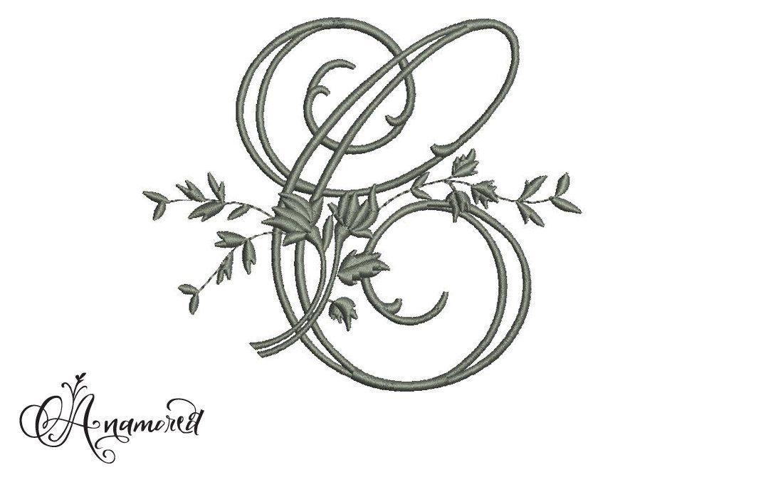 Letter C Fancy Vine Embroidery Letter Embroidery Design File For