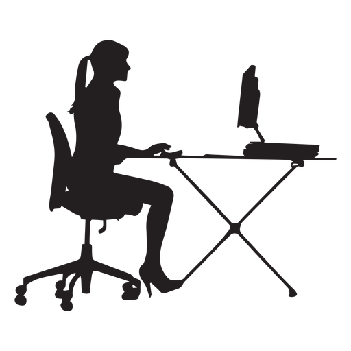 Woman Sitting At Computer Desk Silhouette Ad Ad Paid Sitting Silhouette Desk Woman Silhouette Vector Silhouette Social Media Design Graphics