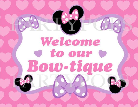 Diy Minnie Mouse Bowtique Party Sign Printable by PartyPops 400