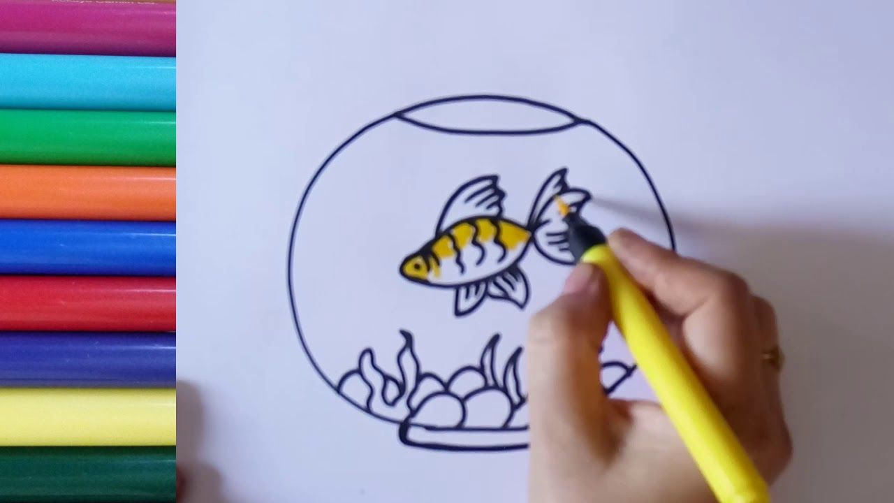 How To Draw A Fish Tank Aquarium Drawing With Goldfish Coloring Goldfish Drawingforkids Aquarium Fishtank Fis Aquarium Drawing Fish Drawings Drawn Fish